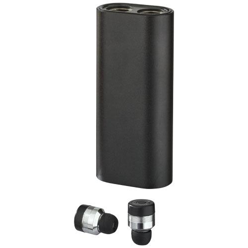 Metalowe słuchawki douszne TrueWirless z futerałem–power bankiem